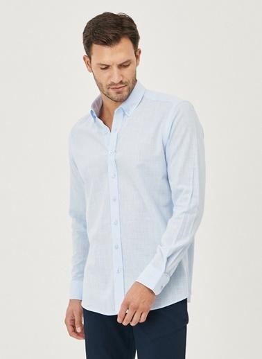 AC&Co / Altınyıldız Classics Tailored Slim Fit Dar Kesim Düğmeli Yaka %100 Koton Gömlek 4A2021200056 Mavi